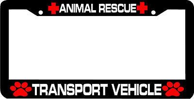 Animal Transport Vehicles - ANIMAL RESCUE TRANSPORT VEHICLE paw print  License Plate Frame