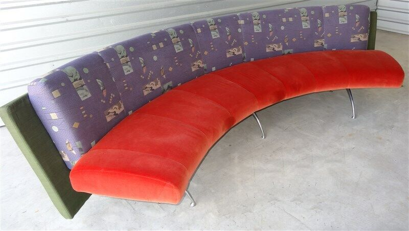 1980s-1990s Curved Post Memphis Modern Couch * 9+ FEET LONG