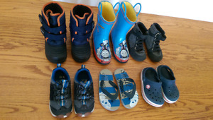 Lot of 6 pairs, toddler boy size 8 shoes, boots, sandals - NW
