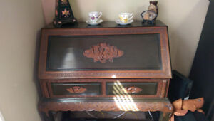 Antique Chinese Mahogany Writing Desk & Chair