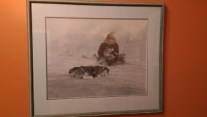 Picture (print) in frame - husky sled dogs