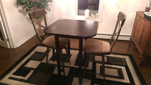 Pub style table with two chairs