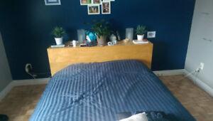 Grand lit (Queen) IKEA, avec tête de lit (rare)