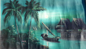 32wx18h original painting on canvas - moonlight boat palm trees