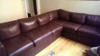 """Beautiful """"L"""" shaped leather sectional couch"""