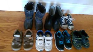 Lot of 7 pairs of boots, shoes, runners toddler boy size 9 - NW