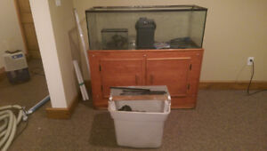 65 gallon fish tank and stand and filter
