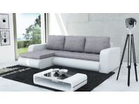 In light grey & white corner sofa bed with one storage