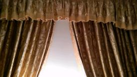 Heavy lined quality curtains, pelmet, tiebacks