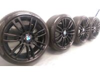 "Genuine BMW 3 4 Series 19"" 403 M Sport Alloy Wheels And Tyres F30 F31 F32 F33 Bl"