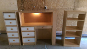 3 Piece Desk Shelving And Drawers Set