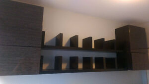 Floating shelves and cupboards