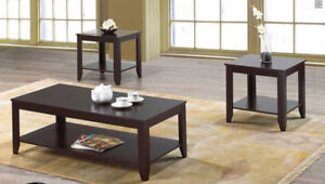 FREE DELIVERY- 3 PCS COFFEE TABLE SET SOLID WOOD/FAUX MARBLE TOP