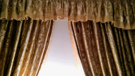 Curtains, heavy, lined