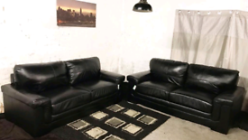 \ Ex display Real leather Black 3+3 seater sofas
