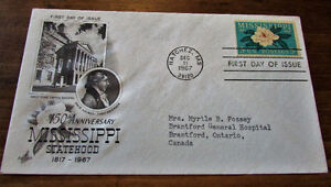 1967 150th Anniversary Mississippi Statehood First Day Cover Kitchener / Waterloo Kitchener Area image 1