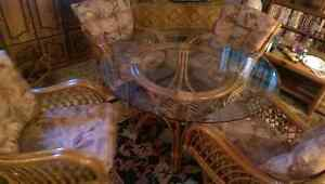 Wicker Cane Glass Top Table and Chairs