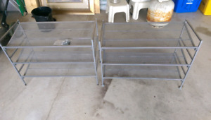 3 metal/mesh shoe stands/shelves
