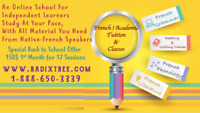 Affordable Online Tuition Of French-English-Math At Home. AB
