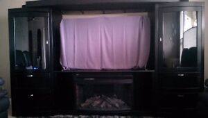 4 Piece Entertainment Cabinet w/ Electric Fireplace