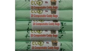 100 COMPOSTABLE KITCHEN FOOD WASTE BAGS CADDY LINERS BIODEGRADABLE 7 LITRE