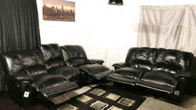 • Dfs New ex display black real leather recliners 3+2 seater sofas
