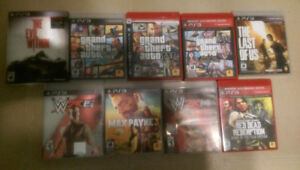 PS3 game console and 9 games