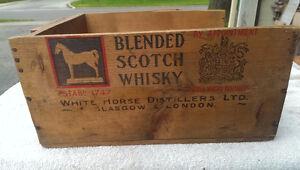 Vintage Wooden Box White Horse Blended Scotch Whisky