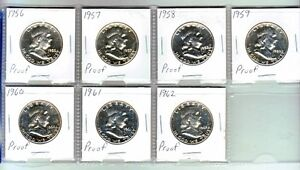 USA Proof silver half dollars complete 1956-1962