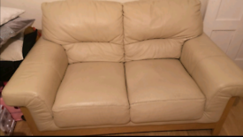 Cream leather sofas 2 and 3 seater DFS