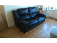Dark brown Leather Sofa set: 2 and 1 seater