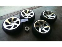 18 inch 3SDM 0.06 polished alloy wheels with ContiSport Contact3 tyres for VW Audi Seat or Skoda