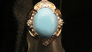 7 CARAT STUNNING TURQUOISE RING IN TWO-TONE SETTING.  NEW!