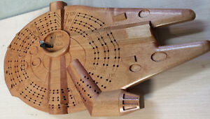 Star Wars Falcon inspired Cribbage Board carved in solid wood Strathcona County Edmonton Area image 2
