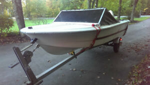 BOAT, TRAILER, 35 HP JOHNSON