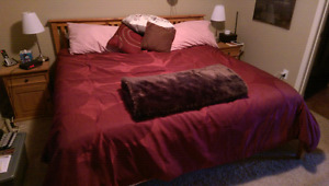 King size Bed - mattress and frame.