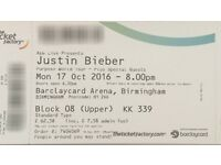 2 x Justin Bieber tickets - Barclaycard Arena - 17th October