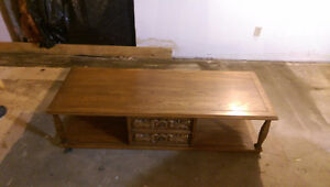 Solid Oak Coffee Table and Twp End Table Set