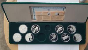 NINE 1988 CALGARY OLYMPIC SILVER COINS