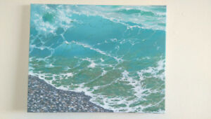 Green Wave Oil Painting, 20x16 inches, Unframed, Handmade