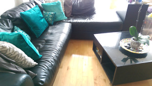 Sectional sofa ,  coffee table and throw pillows