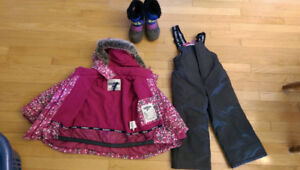 Winter jacket, snow pants and boots