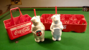 2 Coke Carriers & 2 Coca Cola Polar Bear Drink Holders