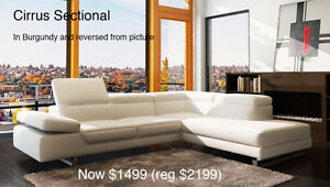 Cirrus Burgundy Leather Sectional - **Warehouse Clearance**