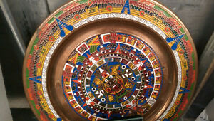 Aztec/Olmec Mexican Brass Metal Painted Plate - UNIQUE
