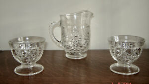 Vintage Depression Pressed Glass Small Pitcher &  Dessert Dishes