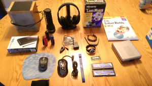 Variety of electronics, gaming mouse, wireless headphones, etc