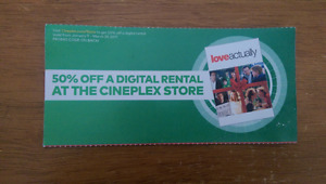 Free 50% OFF a Digital Rental at the Cineplex Store