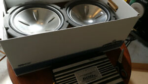 Two 12 inch competition subwoofers  & a 600 watt amplifier