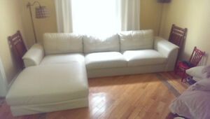 Canapé en cuir blanc White Leather Couch